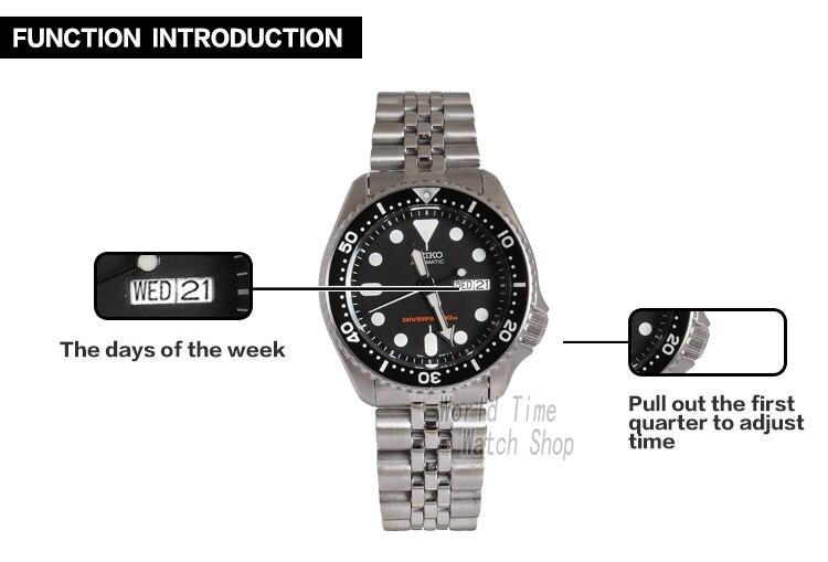 SEIKO male watch fashion mechanical night light men's day watch Dual language calendar SKX007K2 SKX007K1 18