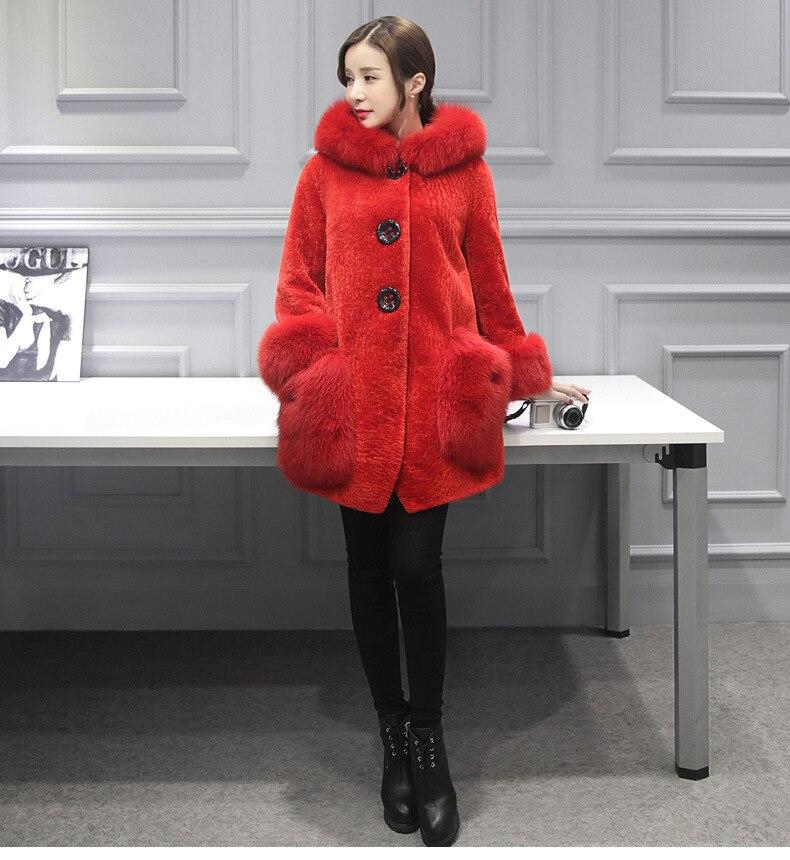 Rosso lungo Cappotto Alta Colletto 4xl Fur Imitazione Con Cappuccio S 2018 Faux grigio In Clobee Pelliccia Di Inverno Giacca Medio Sintetica Donne ETTqSR