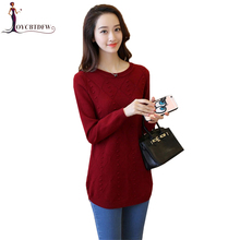 Women Mid Long Knitting Sweater 2018 Autumn Winter New Round Neck Feminino Solid Color Large Size Pullover X411