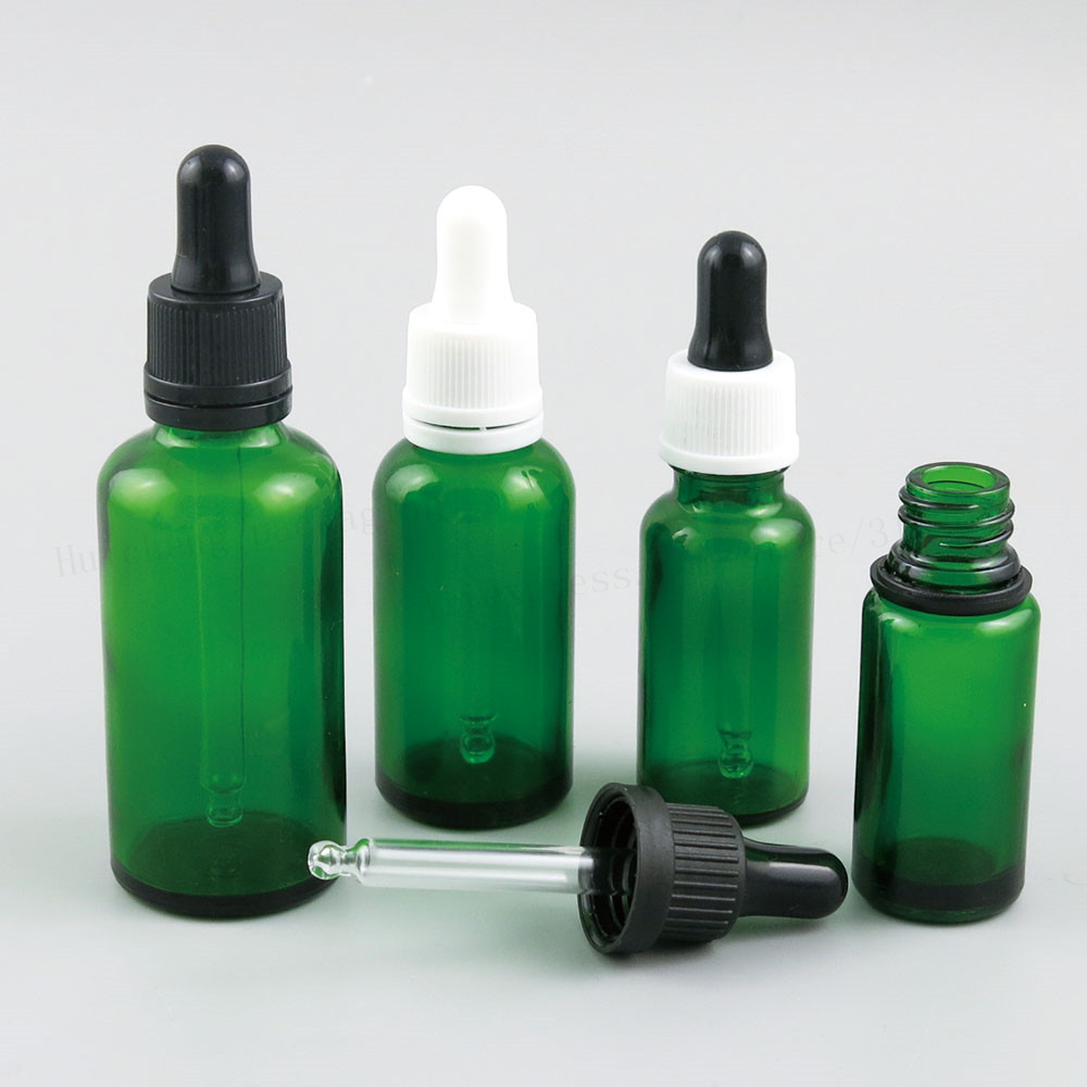 200 x Refillable Green Glass Dropper Bottles for Essential Oil Glass Piepette Dropper Container 5ml 10ml