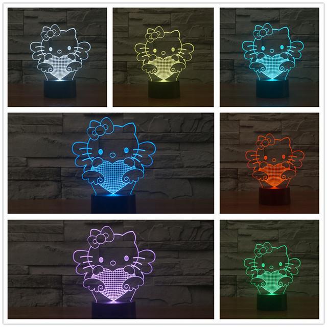 Fascinante Lampe USB Hogar Lindo de Dibujos Animados Hello Kitty Lindo del corazón 7 colores Touch Regulable de Luz Nocturna en 3D De Decoración del Hogar Regalo del Niño