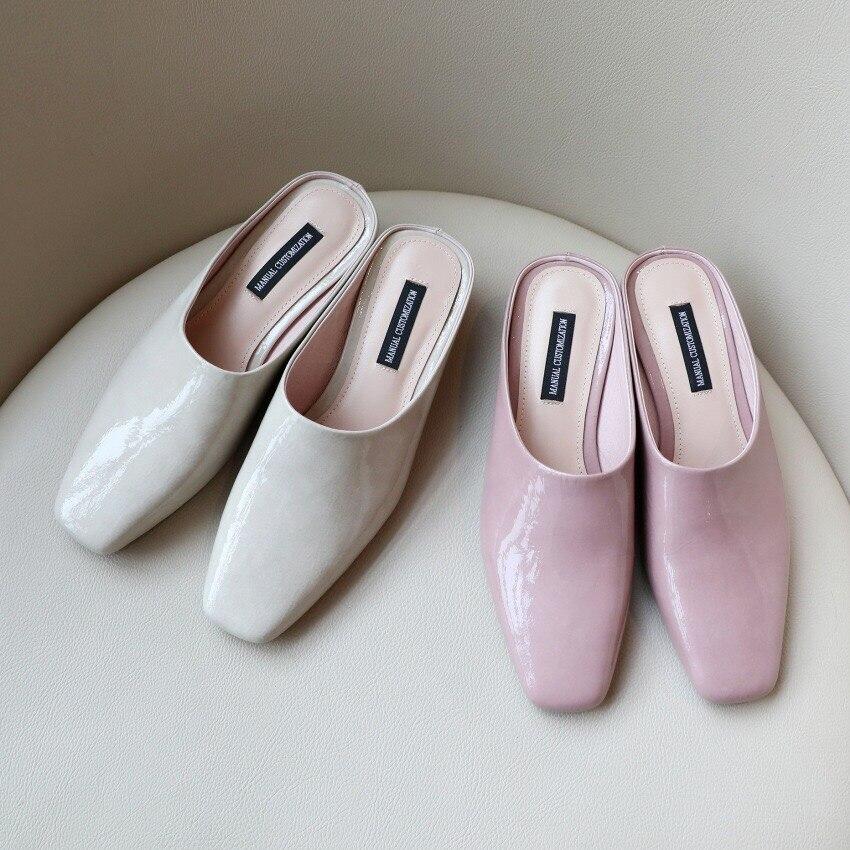 Diapositives Femmes À Pantoufles Air pink Mode Cuir en Carré Bout Nouveau Donna D'été En Beige Plein La Sandales Chaussures 2019 Mules Talons 3F1JKcTl