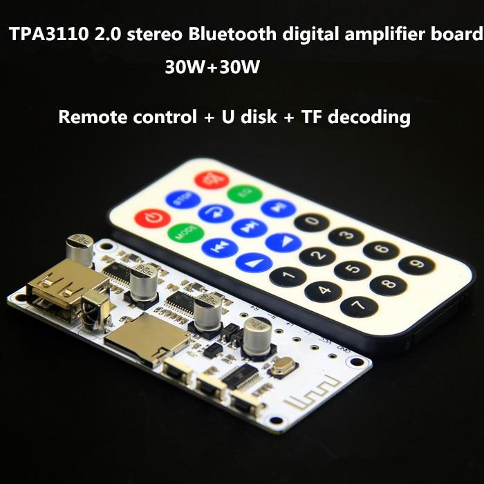 Consumer Electronics Amplifier Useful 2 30w 2.0 Channels Dc16v Tpa3110 Stereo Bluetooth Digital Amplifier Board Remote/u Disk/tf Decoding