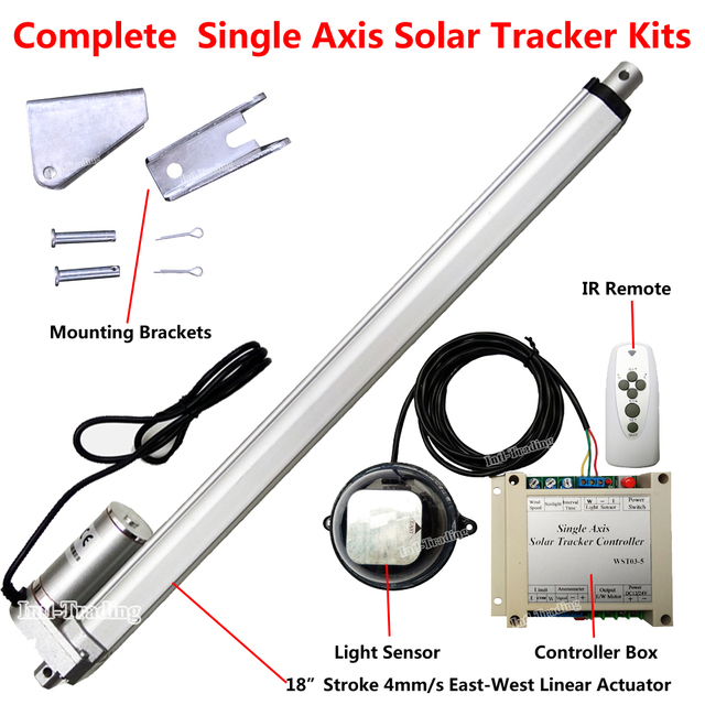 US $119 94 15% OFF DC 12V SingleAxis Solar Tracking Tracker &18