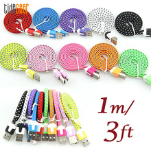 10pcs/lot 1M Fabric Braided Flat Micro 5pin Usb Phone Cable for Samsung S3 S4 S6 S7 for Htc Lg Xiaomi Charger and Data Sync line short flat micro usb data sync charging cable for samsung s4 s3 for lg for htc cellphones