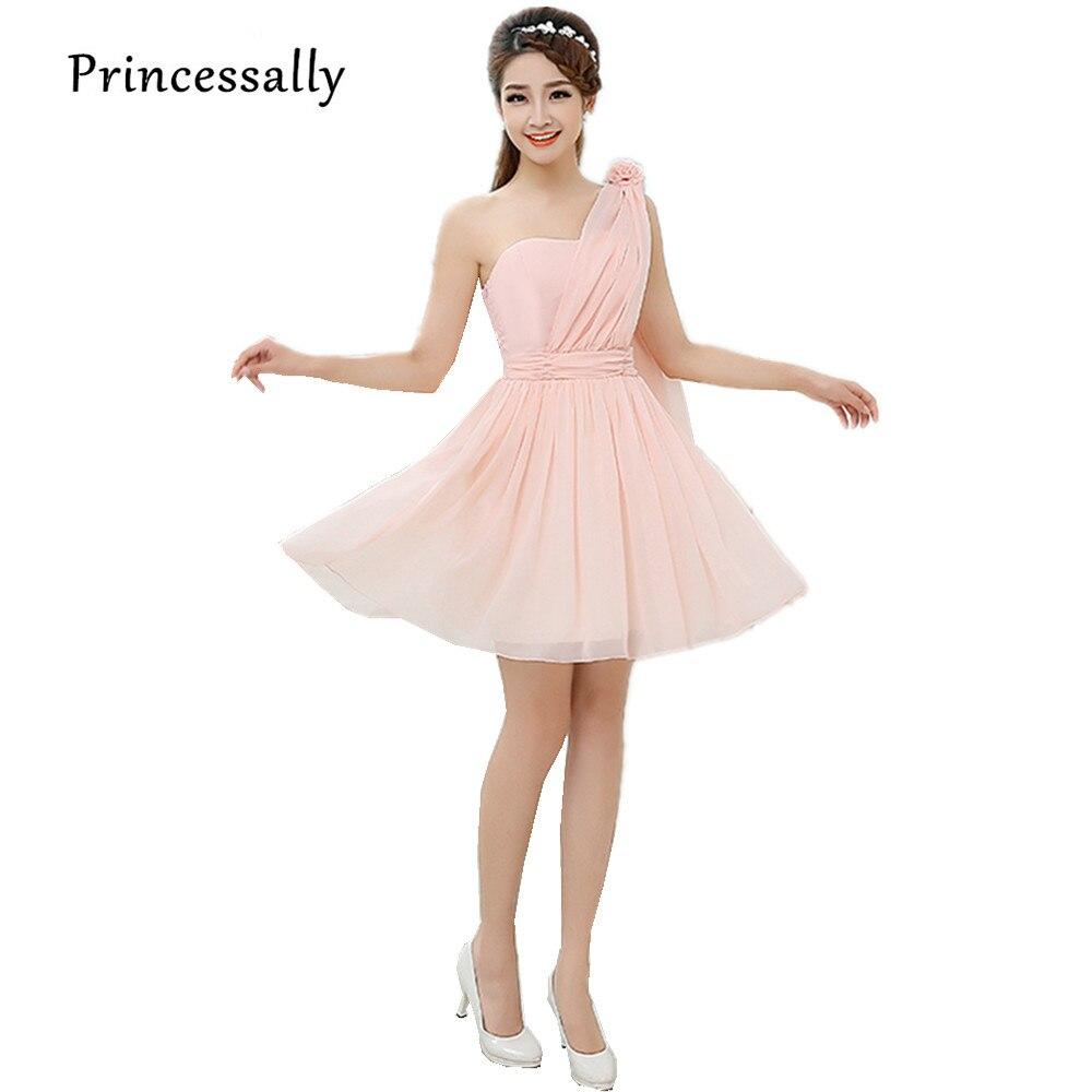 Online get cheap bridesmaid dresses under 30 aliexpress one shoulder pink bridesmaid dress short chiffon knee length pleat cheap bridesmaid party dresses under 30 ombrellifo Gallery
