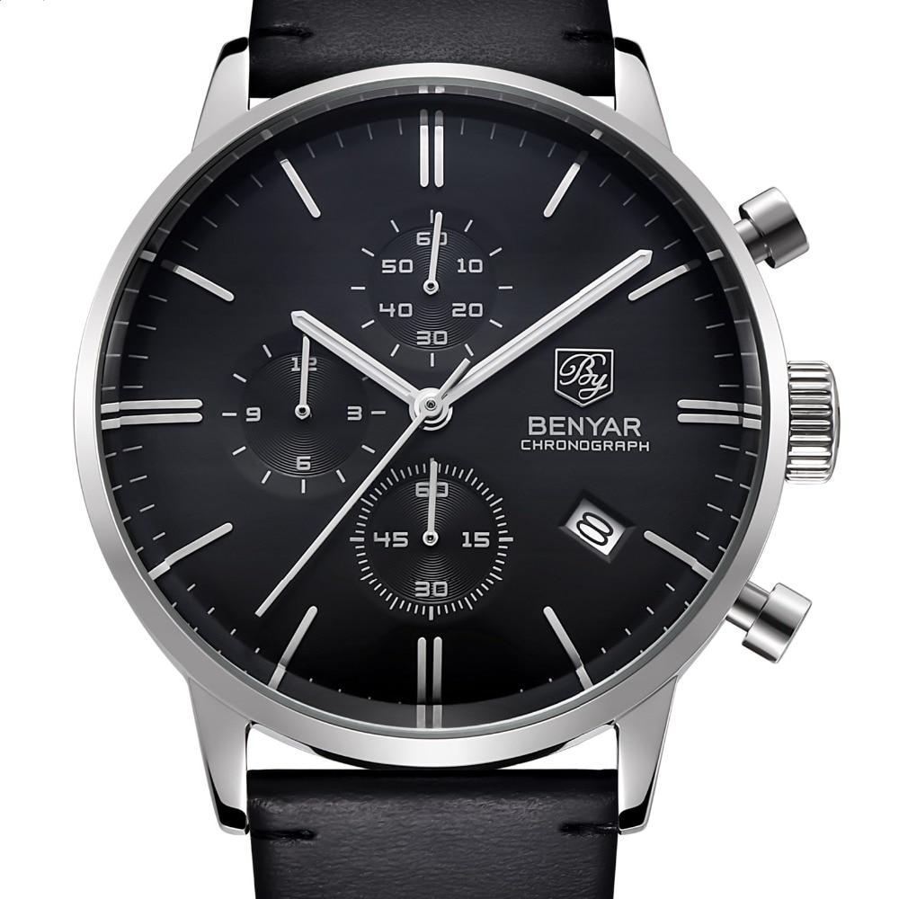 ФОТО BENYAR Fashion Luxury Brand Men's Leather Watch Business Quartz Watch Stainless Steel Case Waterproof Watches With Original Box