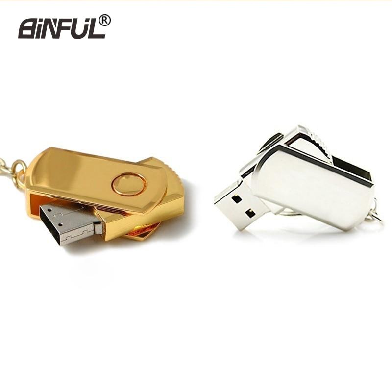 Key Usb Flash Drive 4GB 8GB Gold Metal Pendrive 16GB 32GB 64GB Silver Memory Drive Gift Rotate U Disk Lanyard Pen Drive