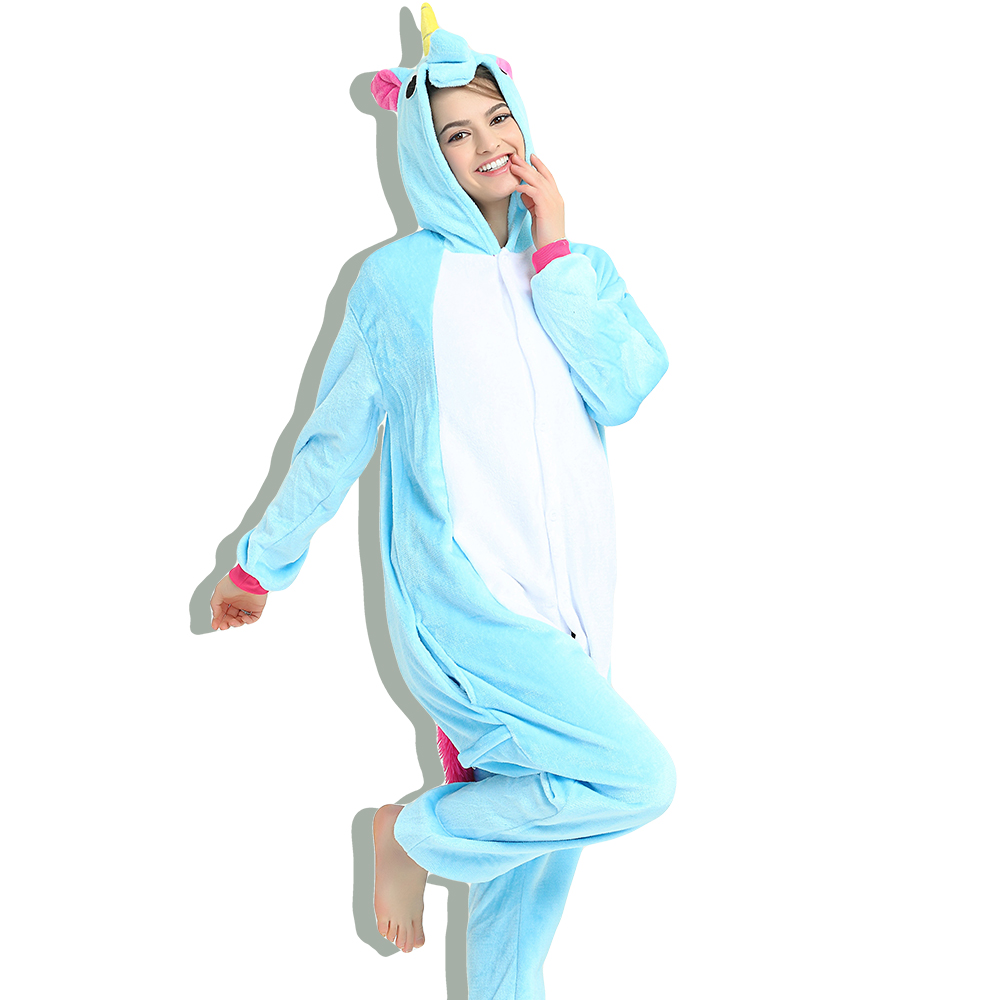 Blue Tenma Adult Women Animal Kigurumi Costume Soft Anime Cosplay Winter Party Jumpsuit Onesie ...