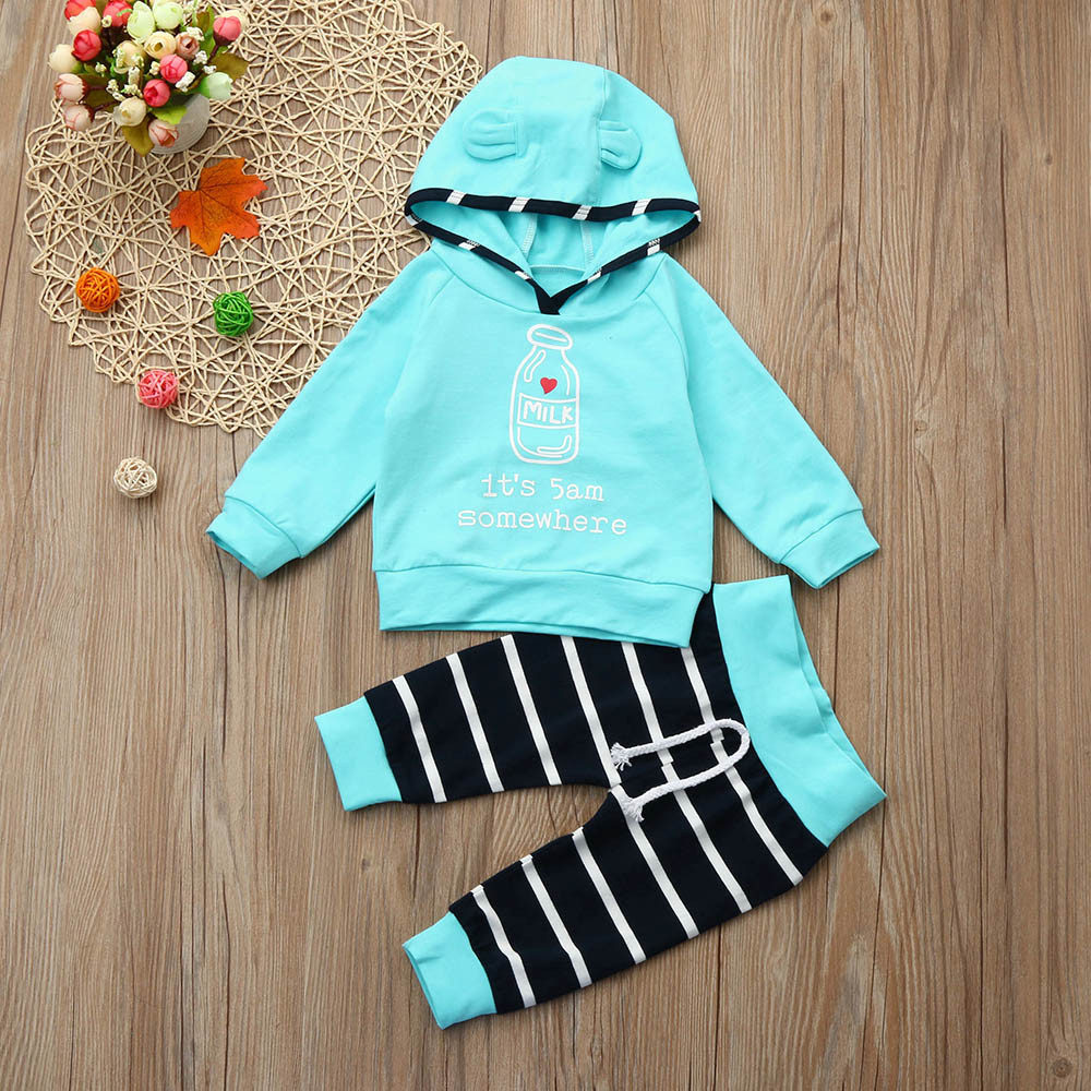 2Pcs Newborn Infant Baby Boy Girl Clothes Set Striped Hooded Tops+Pants Outfits Oct 16