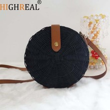 Straw Bags Circle Rattan Bag Bali Women Round Beach Bag Small Boho Handbags Summer 2019 Luxury Brand Fashion Black Natural