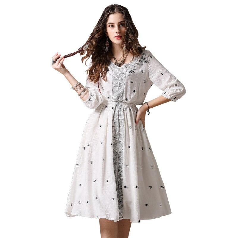 c5a30641c44a Abiti Modo Di Veste Dell annata Patchwork Lungo Vestito Del Femme Prendisole  Bianco Robe Muxu Mujer ...