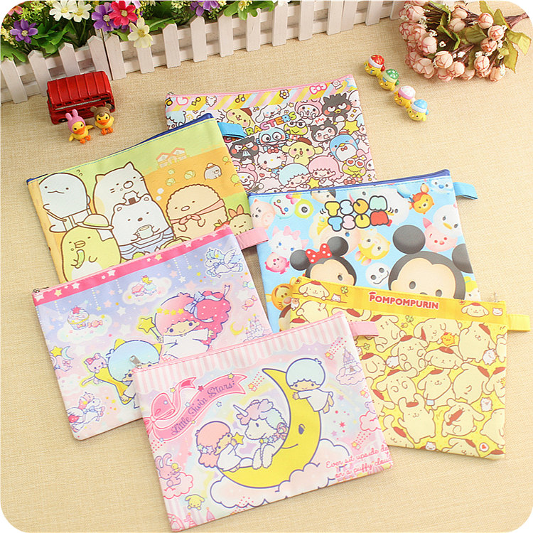 1pcs Cartoon Japan My Melody Sumikko Pudding Dog A5 File Folder Stationery School Supply Zipper Bag For Children Gifts