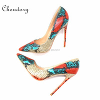 Hot Brand Women Pumps Snake Printing High Heels Sexy Pointed Toe Women Shoes Plus Size 35