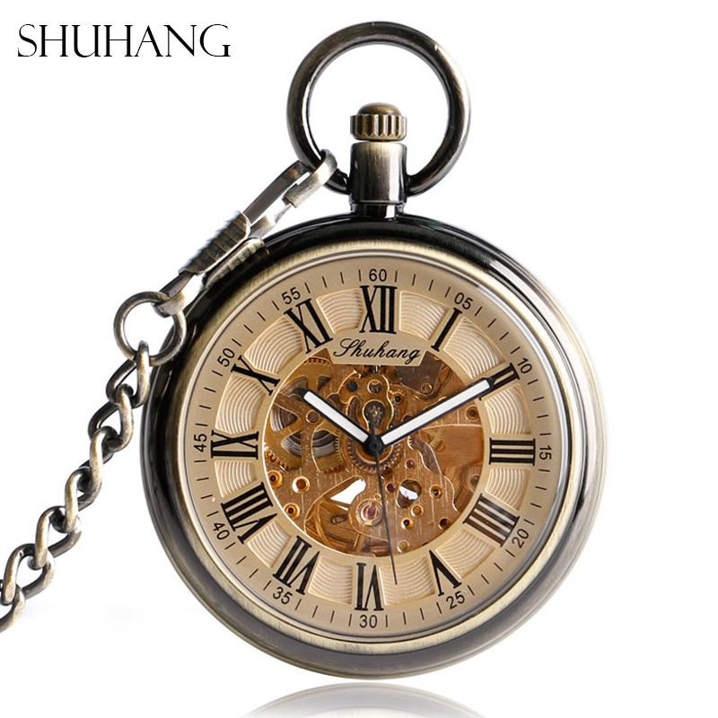 SHUHANG Pocket Watches With Fob Chain Luxury Antique Style Auto Mechanical Nursing Clock Self Winding Pendant Relogio De Bolso