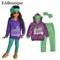 Eaboutique disfraz sirenita moda letra impresa de los bebés ropa fijada manga larga camiseta con legging diadema 3 unidades set