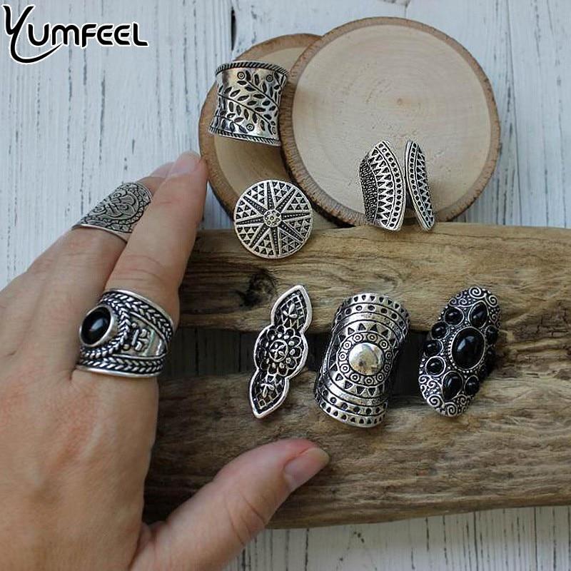 Yumfeel New Bohemia Vintage Boho Jewelry Rings Mixed Lot Tibetan Silver Plated Ring 8pcs/Lot Bohemian Ring Women Vintage Jewelry