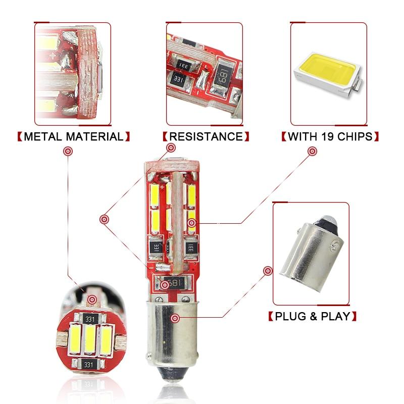 SAARMAT 2x LED BAX9S H6W lampa 6000K Ağ 19SMD Çiplər Canbus Xəta - Avtomobil işıqları - Fotoqrafiya 2