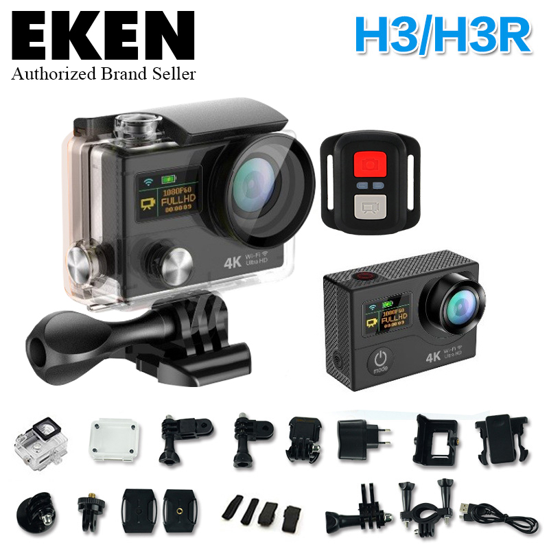 2017 eken 4 K H3/H3R remote Sports camera Ultra HD 4K WiFi 1080P dual screen 2.0 go waterproof pro gopro hero 4 style Action cam add camera bag and two battery sport action camera 1080p hd 12mp sj4000 wifi extre sports camara gopro hero 3 go pro 4 cam style