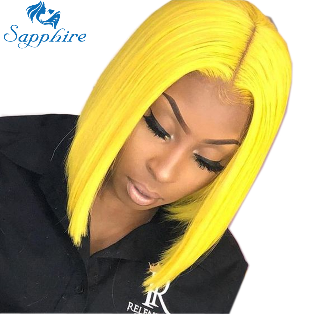 Yellow Blonde Lace Front Wig Brazilian Short Bob Wigs Full Ends Transparent Lace Front Human Hair