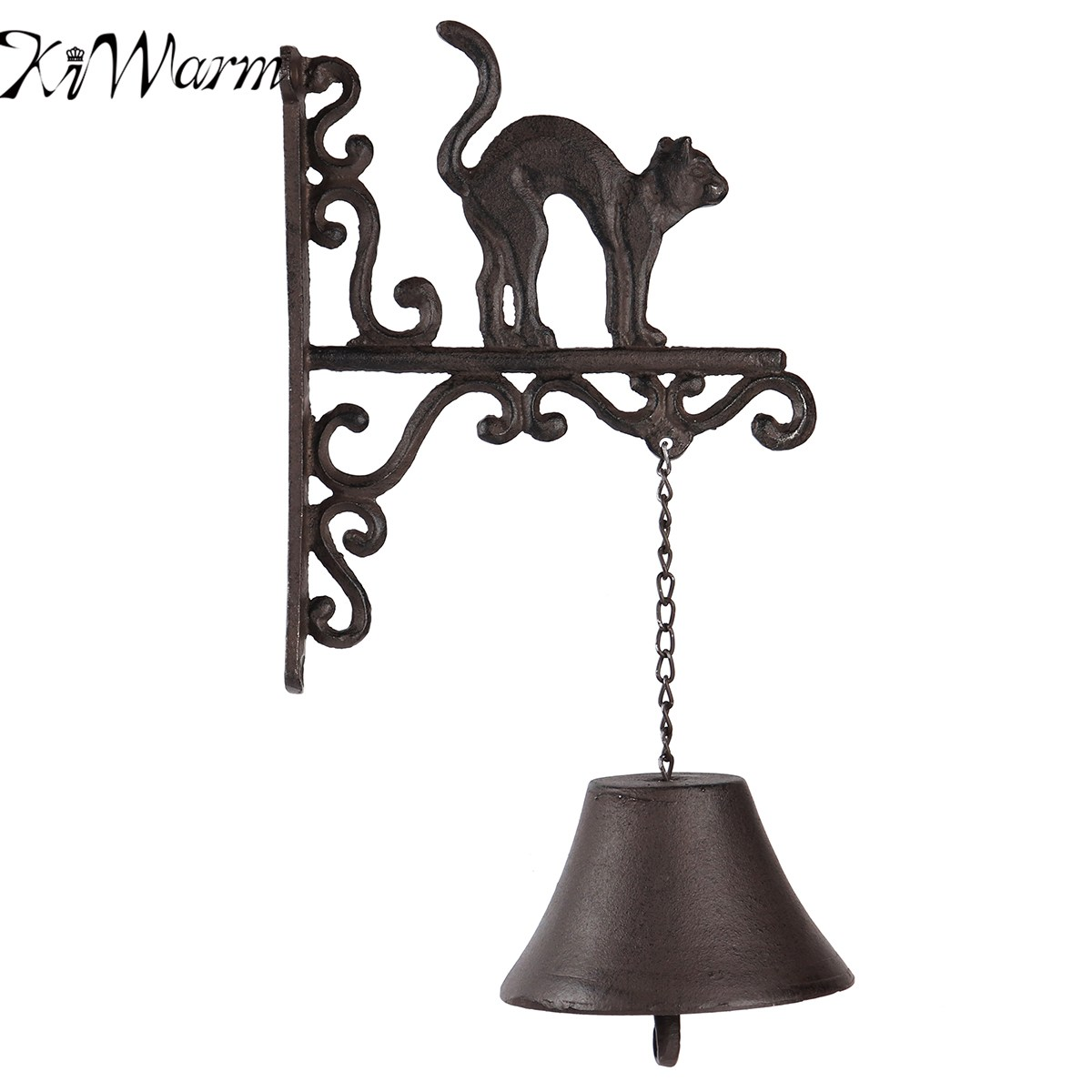 KiWarm Hot Sale Cast Iron Door Bell Metal Wall Mounted Bend Back Cat Design for Home Garden Hanging Ornament