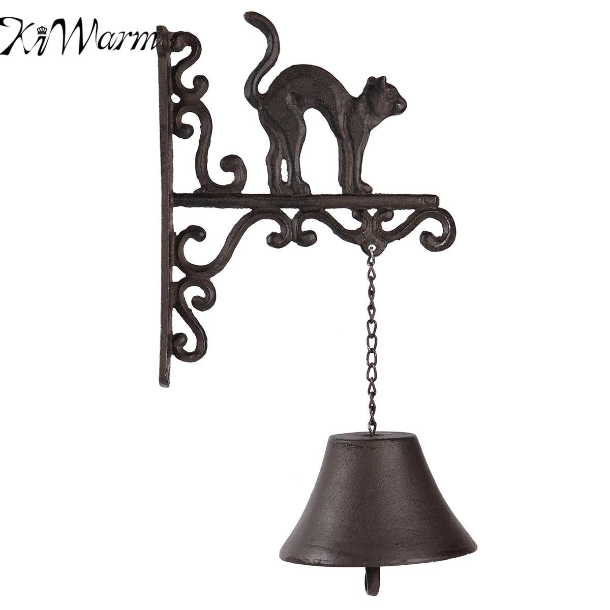 KiWarm Hot Sale Cast Iron Door Bell Metal Wall Mounted Bend Back Cat Design for Home Garden Hanging Ornament