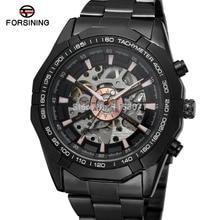 Reloj de pulsera de acero inoxidable automático de gran oferta de moda para hombre, reloj de pulsera Casual Color negro fsd8042m4b1