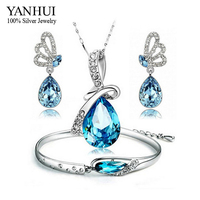 YANHUI Fashion White Gold Filled Jewelry Bridal Sets For Women Blue Crystal Necklace Aretes Pulsera Bijoux Accesorios Sets TZ007