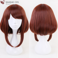 Free Shipping Anime My Hero Academia Akademia Ochako Uraraka Short Brown Bob Cosplay Hair Wig