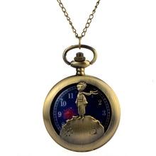 Relogio Retro Bronze Quartz Pocket Watch steampunk Clock Watch little Prince lover's Necklace watche Mens Womens Christmas Gift