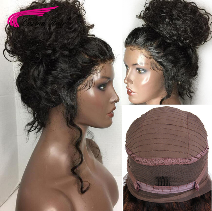 Carina 360 Lace Front Hair Wigs with Baby Hair Free Part Pre Plucked Hairline Indian Kinky Curly Remy Human Hair Wigs