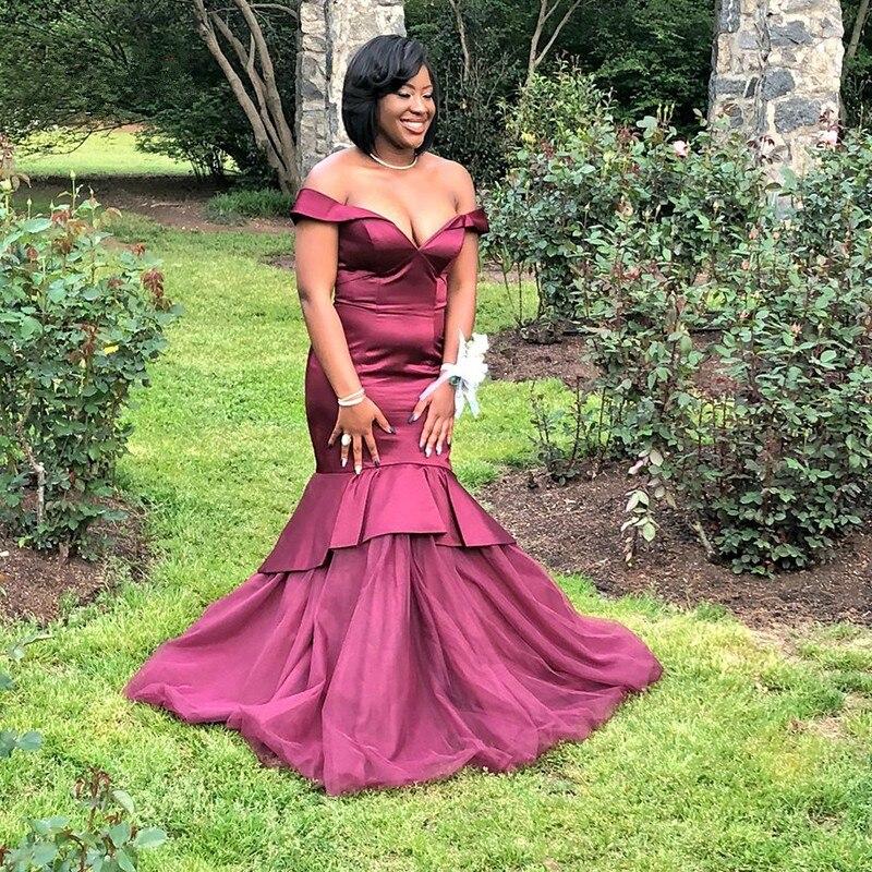 JaneVini Sexy robe de bal sirène africaine bordeaux épaule dénudée Satin longues robes de bal balayage Train grande taille robes de soirée formelles - 3