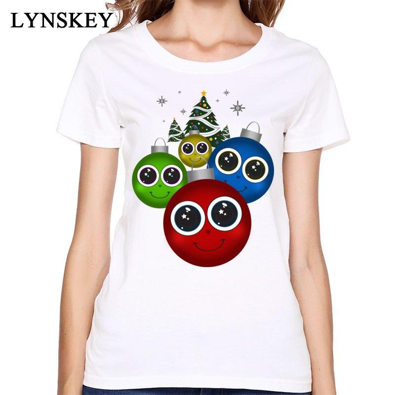 Fun Cartoon Christmas Ornaments Print T Shirt Summer Fashion Pure Cotton Breathable Tops White/Pink New Coming Girls Shirts
