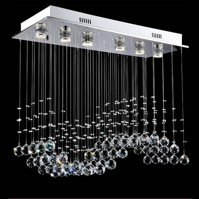 Modern LED Pendant Lights Fixtures Waves Crystal Ball Home lighting Kitchen Living Room Rope Lamp Included GU10 Bulbs 110-240V