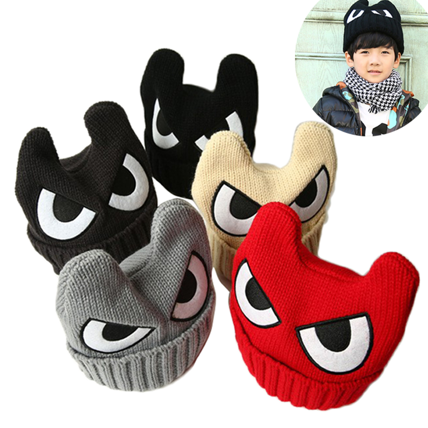 2016 New Arrival Autumn Winter Hats Children Knitted Skullies Wool Cap Eyes Baby Warm Hat Horn Boy Girl Beanies
