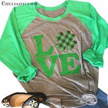 5ee2680da ST Patricks Day Shirts Women Lucky Four-Leave Clover Love T Shirt Grid  Shamrocks Raglan 3/4 Sleeve Baseball Casual Top Tee
