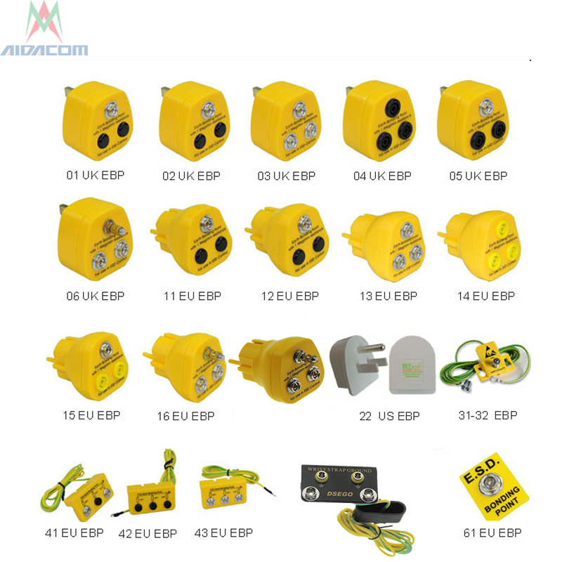 Earth Bonding Plug,EBP Anti Static ESD Earth Grounding EU UK US  AUS EBP Bench Mount Ground Earth Bonding Plug Banana Sockets