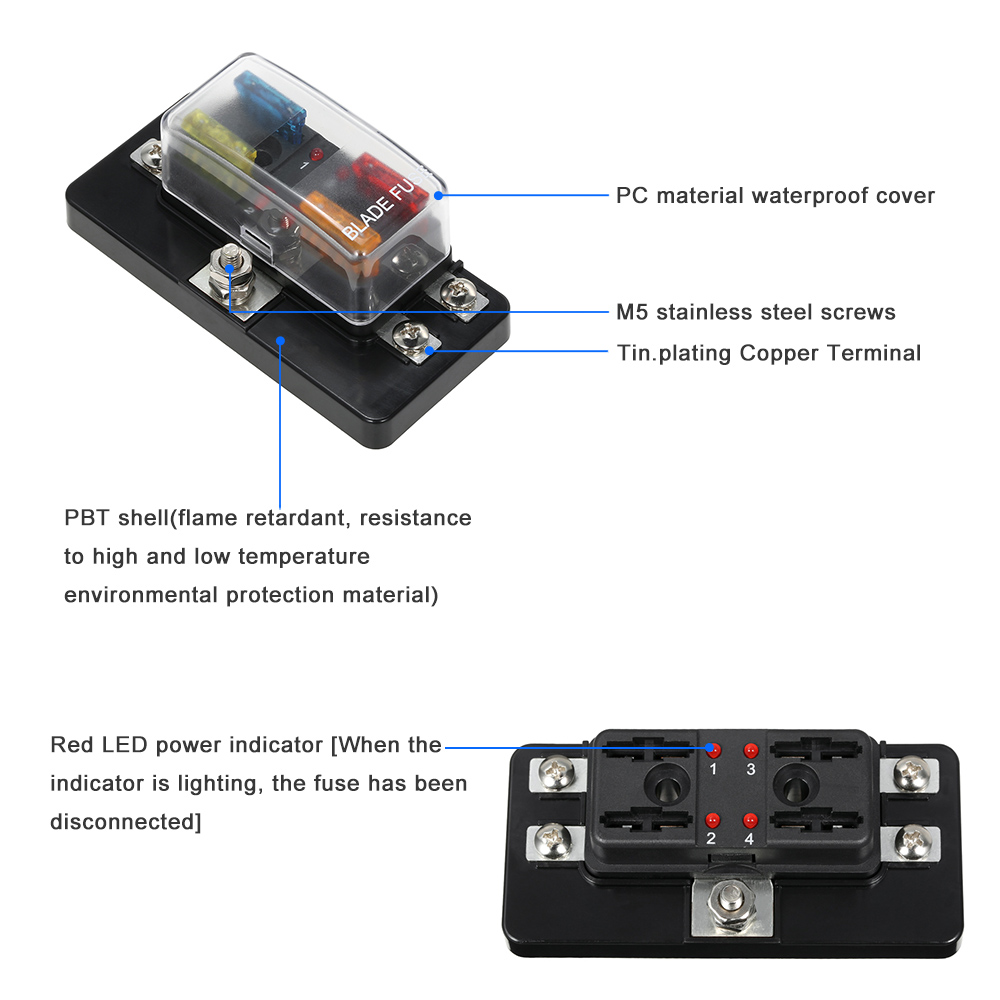 4 Way Blade Fuse Box Wiring Diagram Waterproof Accessory 12v 24v With Led Indicator Block For Car