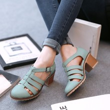 GOXPACER 2018 Autumn Vintage Women Shoes Pointed Toe Women Pumps Fashion Sweet Women High Heels Shoes Thick Heel Plus Size