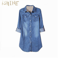 Denim Shirt Female Long Sleeve Shirt Womens Denim Blouse Spring Fashion Cotton Denim Shirt Loose Tops