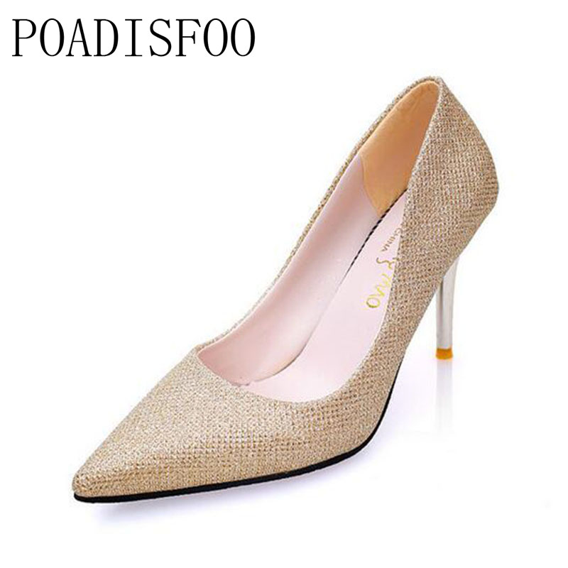 POADISFOO Spring, 2017 New Women's Classic Pumps Shoes for Woman Format Party Weddings pumps for girls Golden color .LSS-898