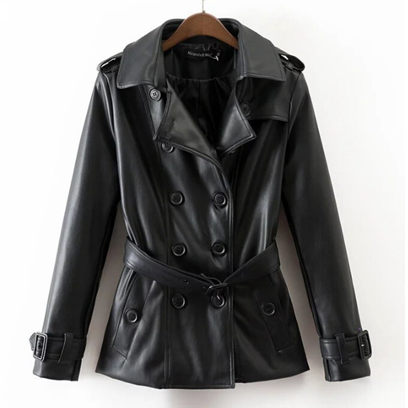 New Spring Autumn   Leather   Jacket Women Black Slim Double Breasted Ladies Female Clothes Vintage PU Faux   Leather   Coat Outerwear
