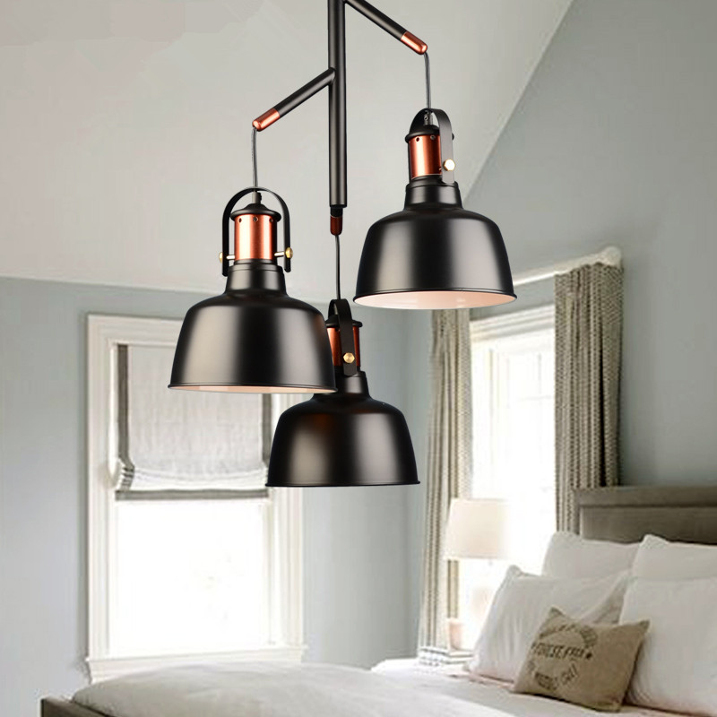 kitchen pendant lights fixture three lampshade black white color retro loft pendant lamps for dining room and bar vintage style