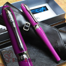 DUKE LADY SERIES PURPLE AND SILVER HOODED FINE NIB FOUNTAIN PEN WITH ORIGINAL BOX