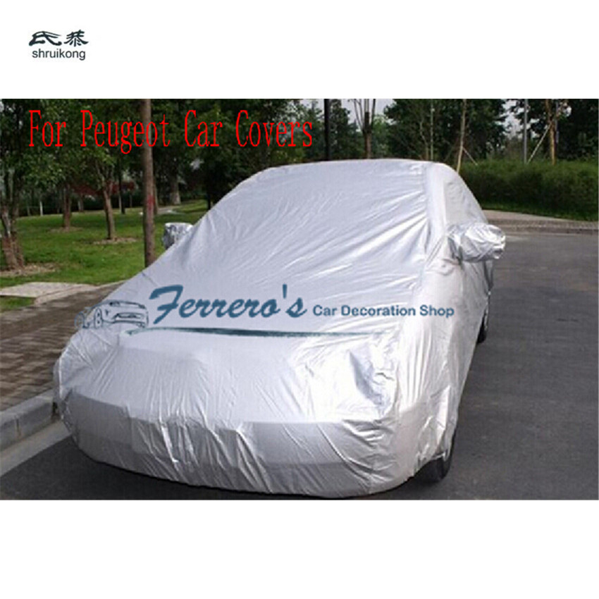 Car Covers Waterproof Sun UV Snow Dust Rain Resistant Protection Gray For Peugeot 206 207 301 307 308 408 508 2008 3008 4008 RCZ