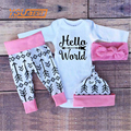 Baby Boy&Girl Clothes Sets Christmas Gift 2016 Autumn Baby Clothing long sleeve Hello Romper+pink pants+ hat+headband 4pcs Suit