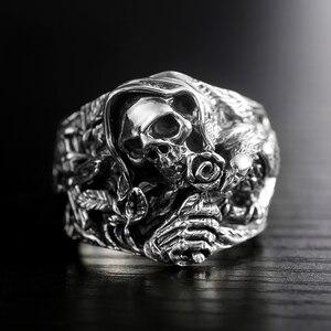 Image 4 - 925 ayar gümüş kafatası yüzükler erkekler için çapraz çiçek Howling kartal Vintage Punk Rock tay gümüş gotik otoriter yüzük