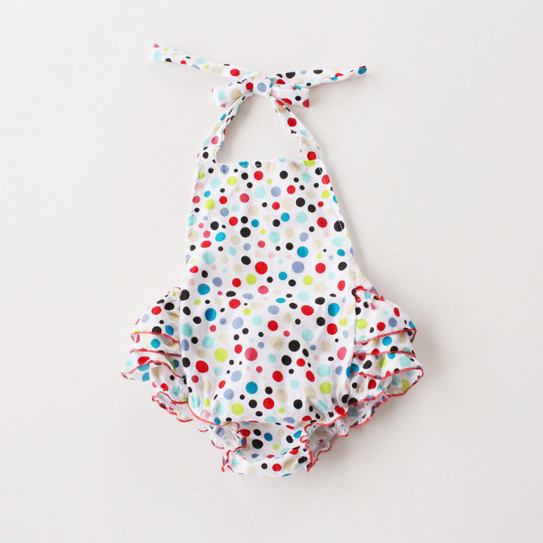 Baby flower Sunsuit or Bubble Romper ruffles Satin bloomer with halter ties baby boutique diaper suit