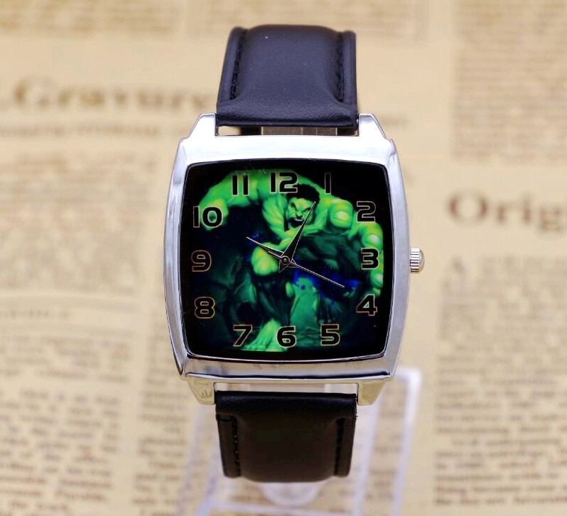 Hot Sale Hulk BOYS Cartoon Watch Lovely Girl Children Watches PU Strap Quartz Wristwatch Kids Dress Rectangular dial Clock 2016 spider cartoon watch children kids wristwatch boys clock child gift leather wrist watch quartz cartoon watch quartz watch
