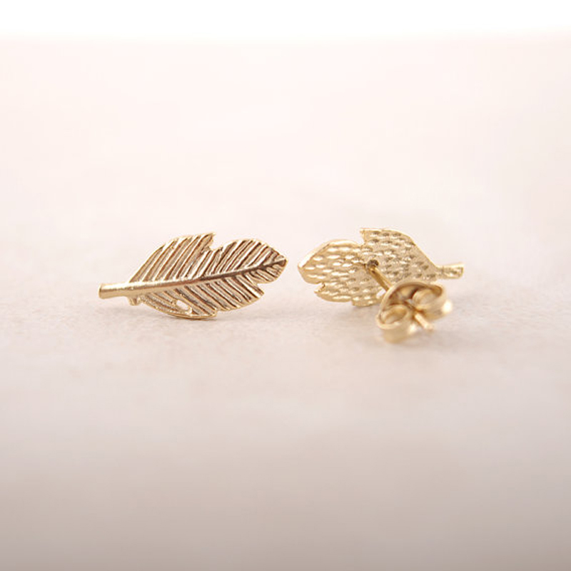 SMJEL New Fashion Punk Leaf Earrings for Women Vintage Feather Stud Earring femme 2018 Jewelry Party Gift boucle d oreille ED038 1